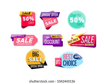 Supermarket sale stickers isolated on white background. Special offer, best choice, discount, big sale labels. Retail advertising campaign, holiday shopping, exclusive proposition illustration.