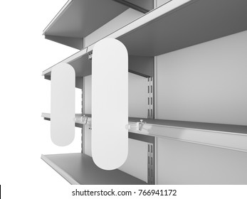 Supermarket set of shelves with flags or shelf-stoppers. 3D rendering