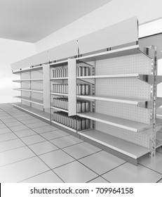 Supermarket set of shelves with shelf-stopper. 3D rendering