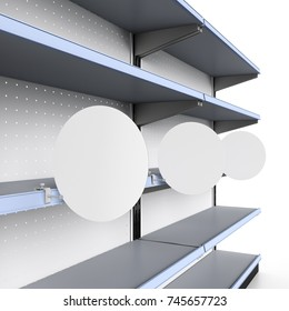 supermarket shelf with circle shelf-stopper or wobblers.3D rendering