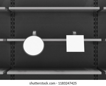 Supermarket shelf with circle and square shelf-stopper or wobblers. 3d illustration.