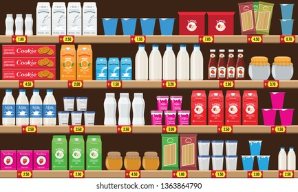 Supermarket, shelf with food and drinks package boxes. Price tag on racks. Rasterized copy