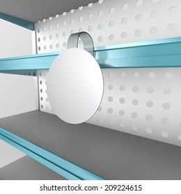 supermarket shelf in perspective with blank round wobbler