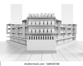 Supermarket shelf with products and hangers. 3D rendering