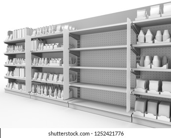 Supermarket Shelf Stopper Attached To Set Of Shelves From Perspective View. 3D rendering