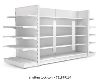Supermarket shelves with advertising stoppers. 3d illustration. Isolated on white