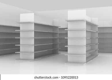 supermarket shelves aisle 3D