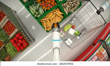 Supermarket shelves with groceries. Robot hand makes purchases of fresh vegetables. 3D illustration