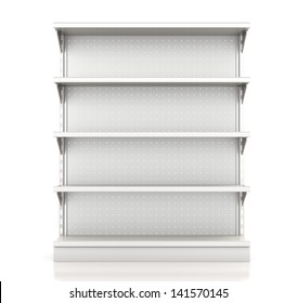 supermarket shelves render from front on white. 3d