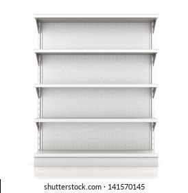 supermarket shelves render from front on white. 3d