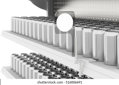 Supermarket shelves with soda cans and shelf-stopper with blank labels isolated on white background. Include clipping path. 3d render