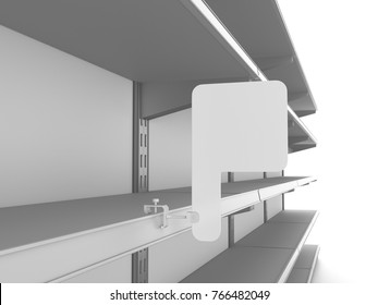 supermarket shelves with wobblers. 3D rendering