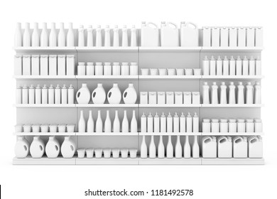 Supermarket Shelving Rack with Blank Products or Goods in Clay Style on a white background. 3d Rendering.