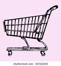 supermarket shopping cart, doodle style, sketch illustration, hand drawn, raster