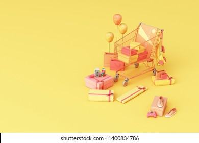 Supermarket shopping cart surrounding by giftbox with credit card on yellow background. 3d rendering