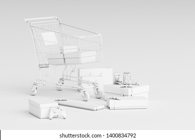 Supermarket shopping cart surrounding by giftbox on white background. 3d rendering