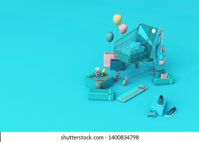Supermarket shopping cart surrounding by giftbox with credit card on blue background. 3d rendering
