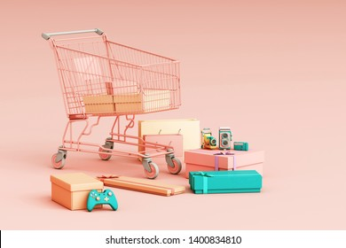Supermarket shopping cart surrounding by giftbox on pink background. 3d rendering