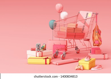 Supermarket shopping cart surrounding by giftbox with credit card on pink background. 3d rendering