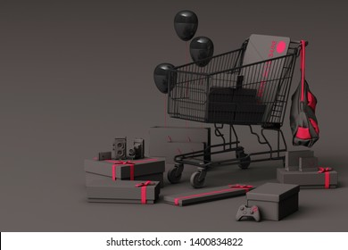 Supermarket shopping cart surrounding by giftbox with credit card on grey background. 3d rendering