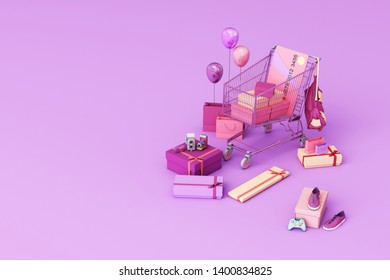 Supermarket shopping cart surrounding by giftbox with credit card on purple background. 3d rendering