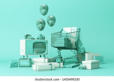 Supermarket shopping cart surrounding by giftbox with credit card and many gadget on green background. 3d rendering
