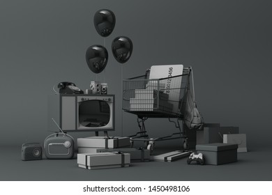 Supermarket shopping cart surrounding by giftbox with credit card and many gadget on black background. 3d rendering