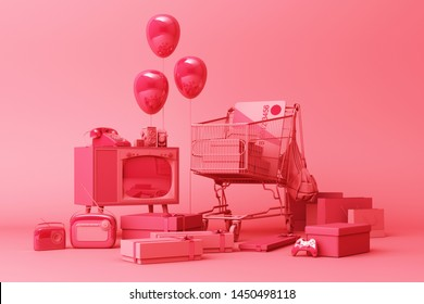 Supermarket shopping cart surrounding by giftbox with credit card and many gadget on red background. 3d rendering