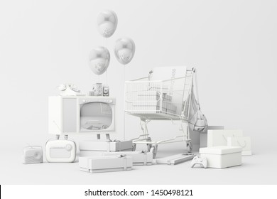 Supermarket shopping cart surrounding by giftbox with credit card and many gadget on white background. 3d rendering