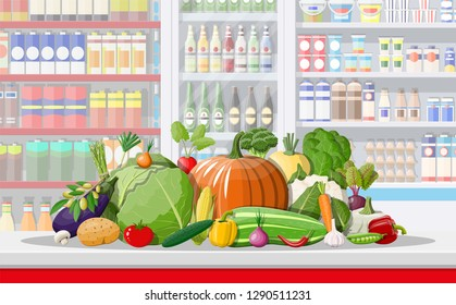 Supermarket store interior with vegetables. Big shopping mall. Interior store inside. Checkout counter, grocery, drinks, food, dairy products. illustration in flat style