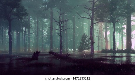 Supernatural fairy firefly lights soaring in the foggy air over spooky forest swamp at dark night or dusk. Fantasy 3D illustration from my own 3D rendering file.