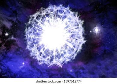 Supernova explosion in the form of a dandelion flower