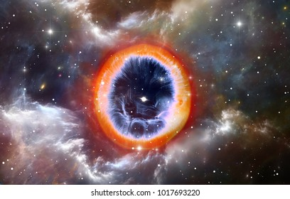 Supernova explosion with glowing nebula in the background, 3D illustration