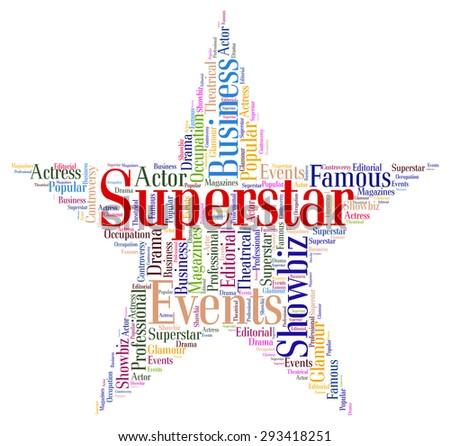superstar word representing personality luminaries words stock