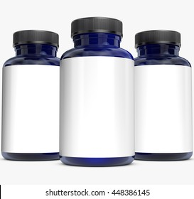 Supplement bottle on white background.3D Rendering