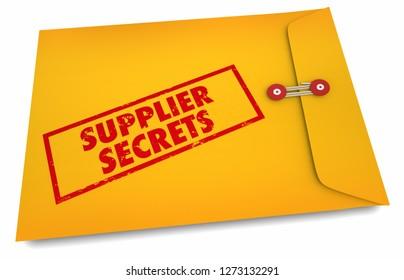 Supplier Secrets Vendor Business Yellow Envelope 3d Illustration