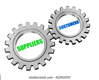 suppliers and customers - text in 3d silver grey metal gear wheels, business servicing operate concept words