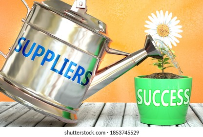 Suppliers helps achieving success - pictured as word Suppliers on a watering can to symbolize that Suppliers makes success grow and it is essential for profit in life and business, 3d illustration