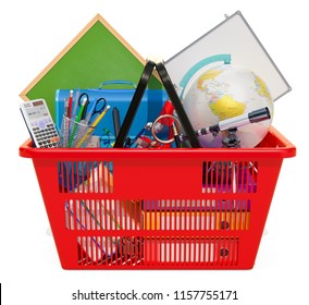 Supplies in Shopping Basket. Back to School concept. 3D rendering isolated on white background