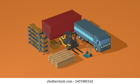 supply chain, logistics, transportation concept animation, isometric view (3d render)