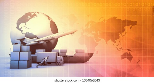 Supply Chain Management Industry Abstract Background Concept 3D Render