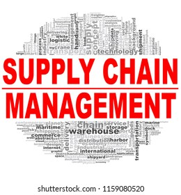 Supply chain management word cloud. Creative illustration of idea word lettering typography . 3D rendering.