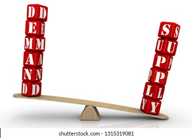 Supply outweighs demand. The surplus. The words SUPPLY and DEMAND (made from red cubes with letters) are weighed in the balance. The word SUPPLY outweighs the word DEMAND. Isolated. 3D Illustration