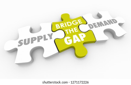 Supply Vs Demand Bridge the Gap Puzzle Pieces 3d Illustration