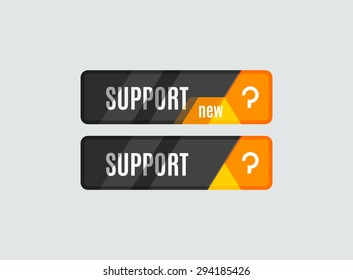 Support button, futuristic hi-tech UI design. Website, mobile applications icon, online design, business, gui or ui