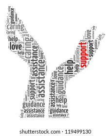Support info-text graphic and arrangement concept on white background (word cloud)