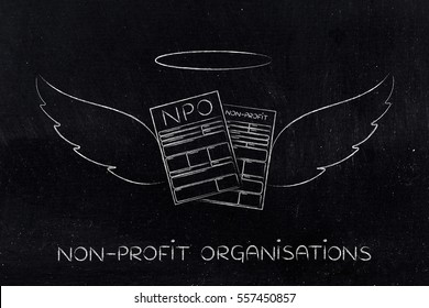 supporting or volunteering for a charity, conceptual: nonprofit organization enrollment or fundraising forms with angel wings