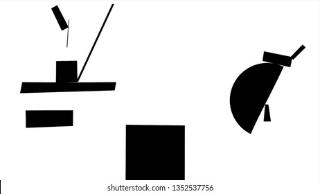Suprematism geometric white shapes moving and falling down on black background, monochrome. Combination of different geometrical figures moving, abstract art concept.