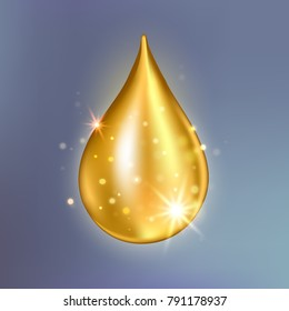 Supreme collagen oil drop essence. Premium gold shining serum droplet.