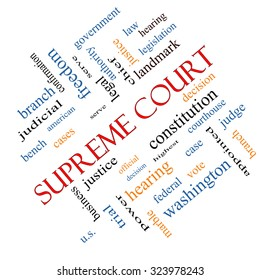 Supreme Court Word Cloud Concept angled with great terms such as justices, federal, cases and more.